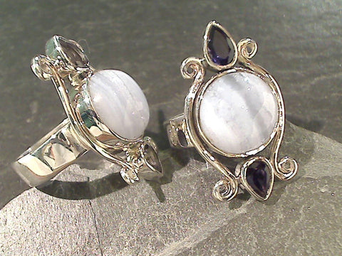 Size 7 Blue Lace Agate, Iolite, Sterling Ring