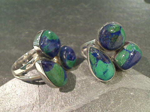 Size 6.75 Azure-Malachite Sterling Silver Ring