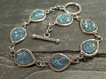 "7.5"" Roman Glass, Sterling Silver Bracelet"