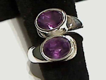 Amethyst, Sterling Silver Ring - Up to Size 9