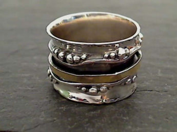 Size 10.5 Sterling Silver 14K Gold Spinner Ring