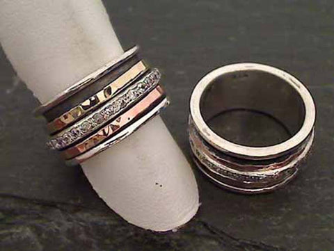 Size 9 Sterling Silver, 14K Gold Spinner Ring