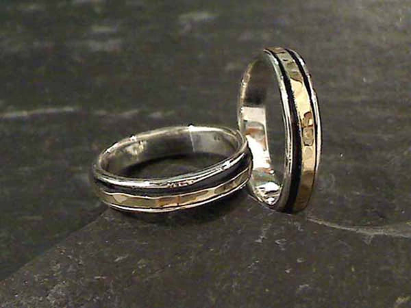 Size 11 Sterling Silver 14K Gold Spinner Ring