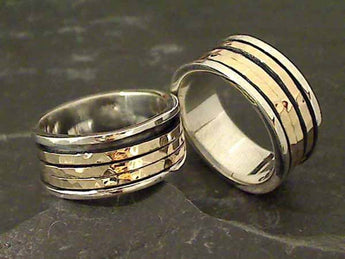 Size 8.5 Sterling Silver, 9K Spinner Ring