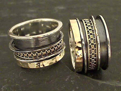 Size 8.5 Sterling Silver, 14K Spinner Ring
