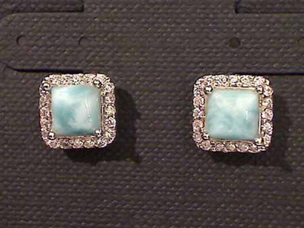 Larimar, CZ, Sterling Silver Earrings