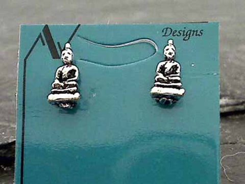 Sterling Silver Buddha Stud Earrings