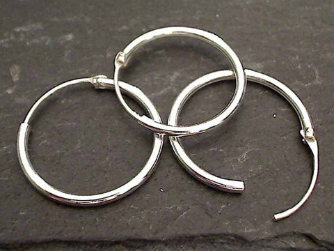 20mm X 1.5mm Sterling Silver Hoops