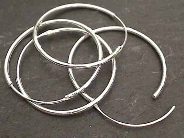 25mm X 1.2mm Sterling Silver Hoops