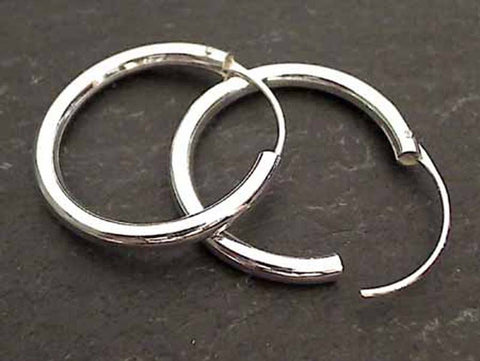 25mm X 3mm Sterling Silver Hoops