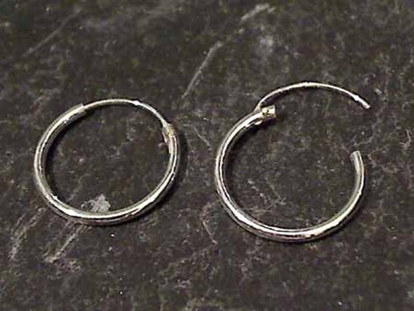 14mm X 1.2MM Sterling Silver Hoops