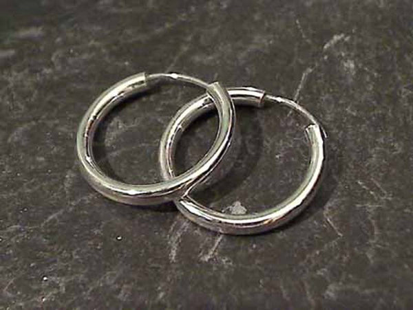 19mm X 2.2mm Sterling Silver Hoops
