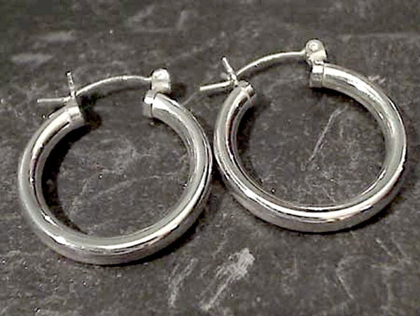 22mm X 3mm Sterling Silver Hoops