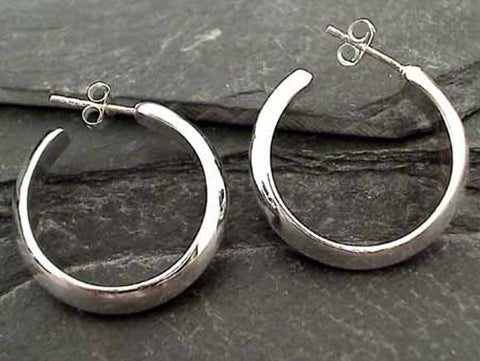 26mm X 5mm Half Round Sterling Silver Hoops