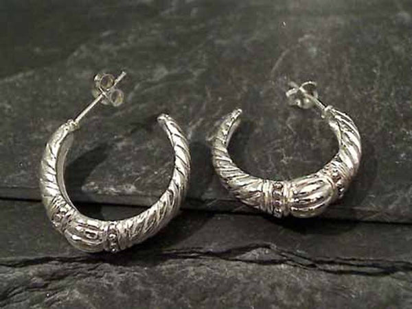 23mm Decorated Sterling Silver Hoops