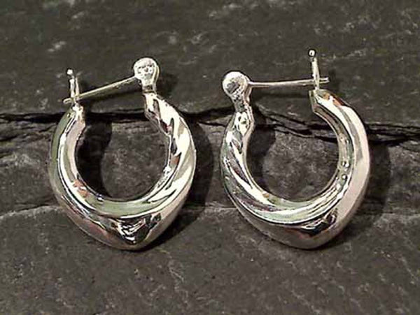 Fancy Sterling Silver Hoops