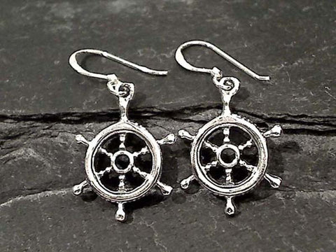 Sterling Silver Ship Whell Earrings