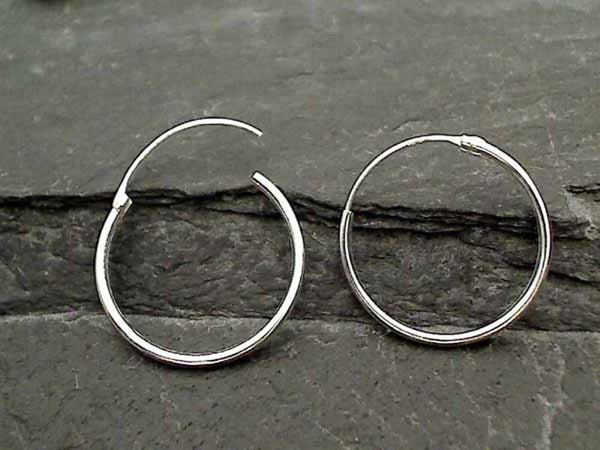 20mm X 1mm Sterling Silver Hoops