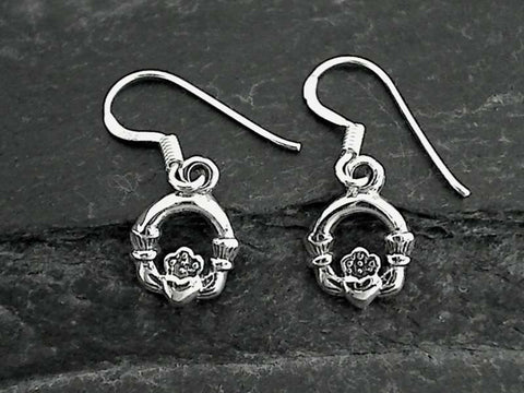 Claddagh Earrings, Sterling Silver