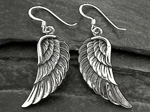 Sterling Silver Large Angel Wings Earrings