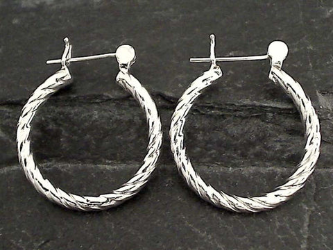 Sterling Silver Latching Hoops - 25MM