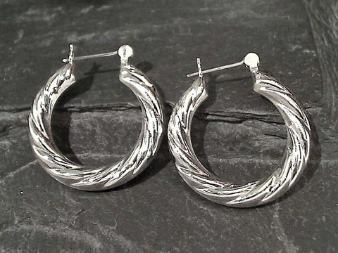Sterling Silver Latching Hoops - 31MM