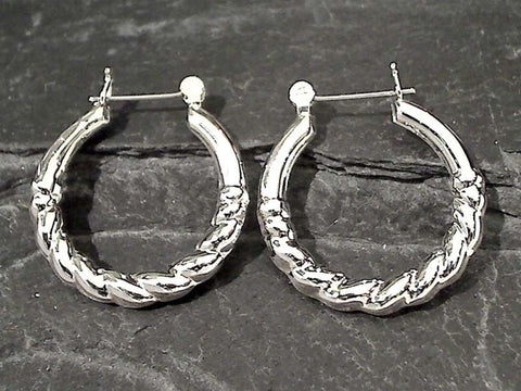 Sterling Silver Latching Hoops - 29MM