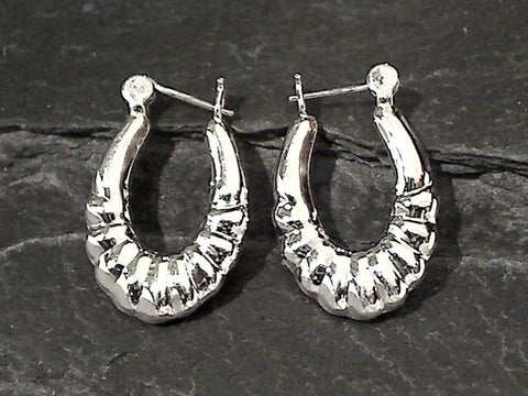 Sterling Silver Latching Hoops 25 x 17MM