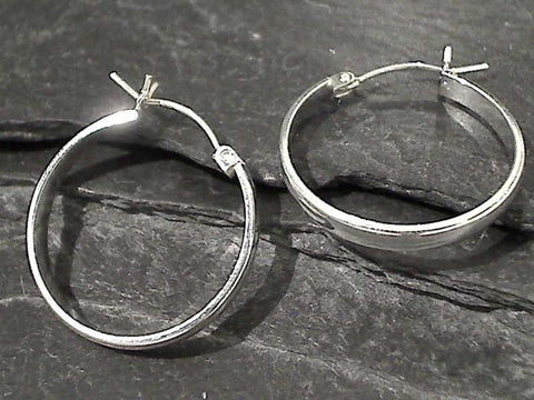 Sterling Silver Latching Hoops 24MM