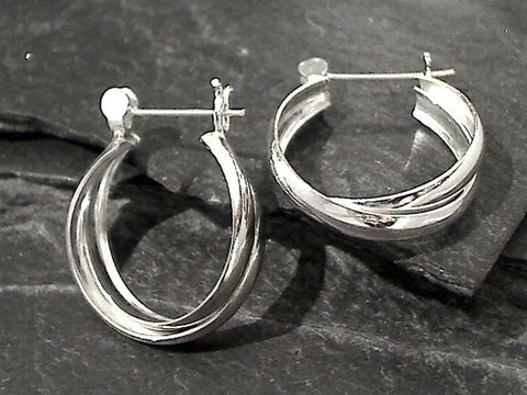 Sterling Silver Latching Hoops 22MM