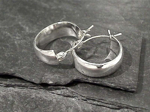 Sterling Silver Latching Hoops 17 x 6MM