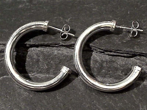 Sterling Silver Post Hoops 25MM