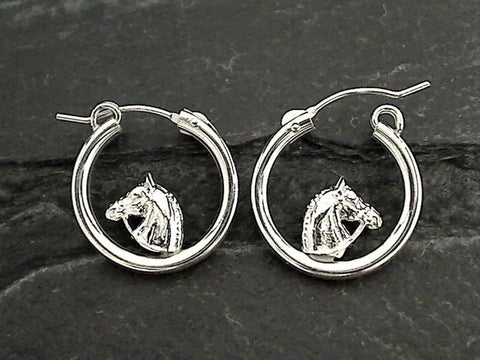 Sterling Silver Latching Hoops with Horse