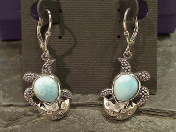 Larimar, CZ Sterling Sea Turtle Earrings