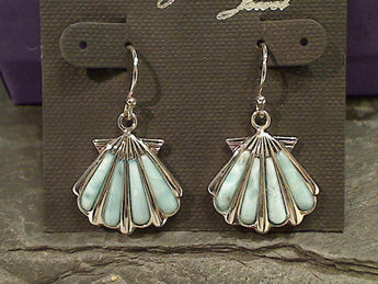 Larimar, Sterling Silver Sea Shell Earrings