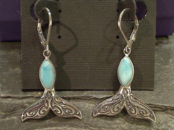 Larimar, Sterling Silver Whale Tail Earrings