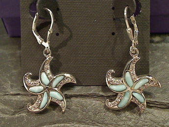 Larimar, CZ, Sterling Starfish Earrings