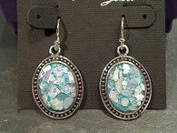 Roman Glass, Sterling Silver Earrings