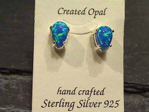 Lab Created Opal, Sterling Silver Earrings