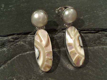 Nautilus Shell, Pearl, Sterling Silver Earrings