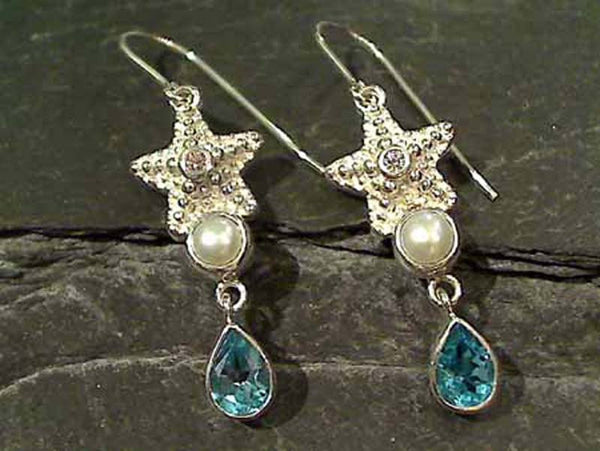 Blue Topaz, Pearl, CZ, Sterling Silver Earrings