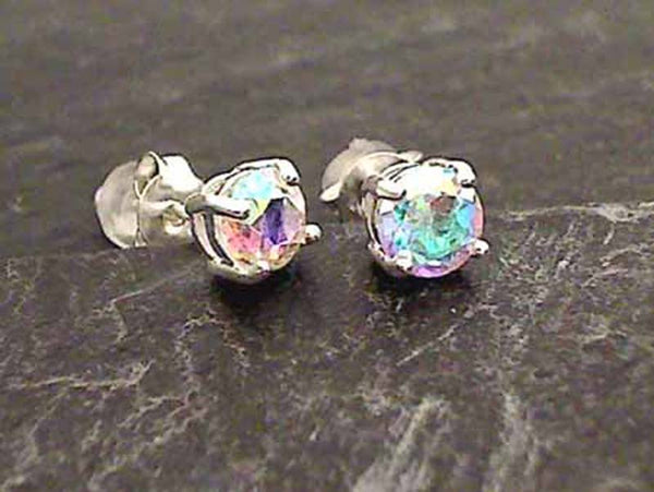 Mercury Mist Rainbow Quartz Stud Earrings