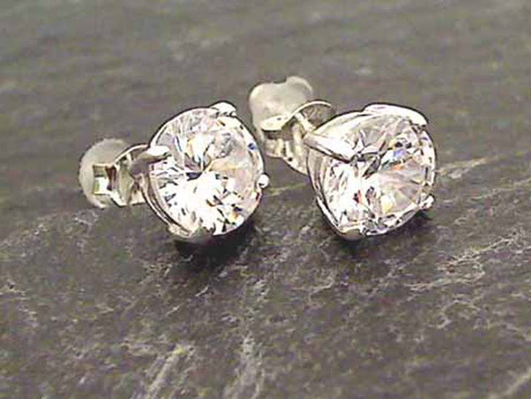 White CZ, Sterling Silver 7x7mm Stud Earrings