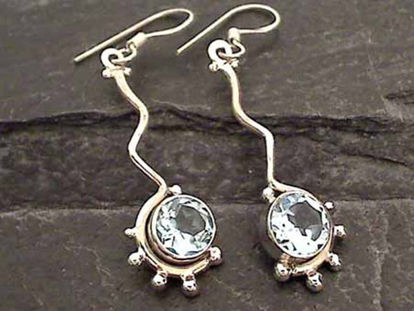 Blue Topaz, Sterling Silver Earrings