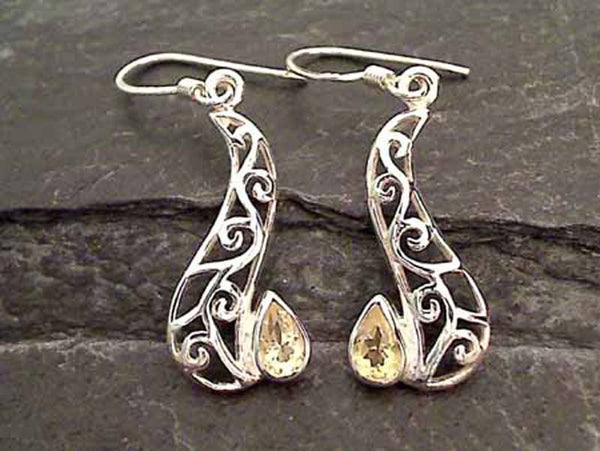 Citrine, Sterling Silver Earrings