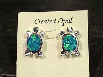 Created Opal, Sterling Silver Turtle Earrings
