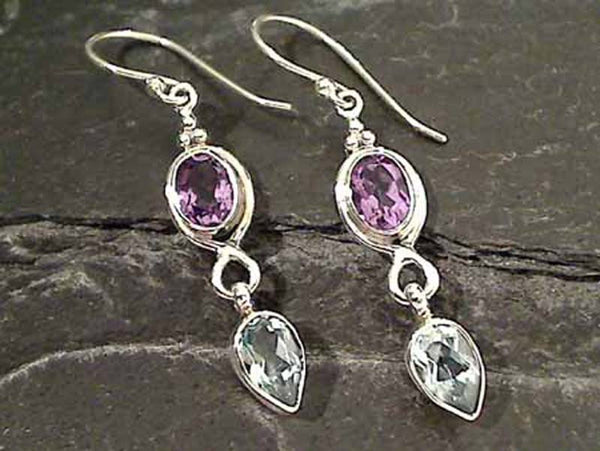 Amethyst, Blue Topaz, Sterling Silver Earrings
