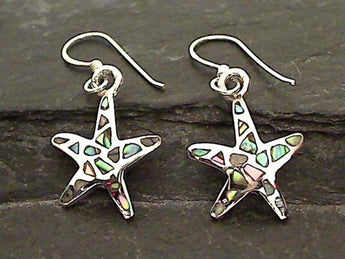 Abalone, Sterling Silver Starfish Earrings