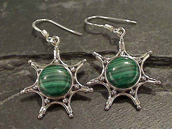 Malachite, Sterling Silver Earrings