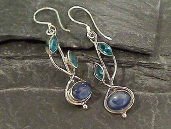 Kyanite, Blue Quartz, Sterling Silver Earrings